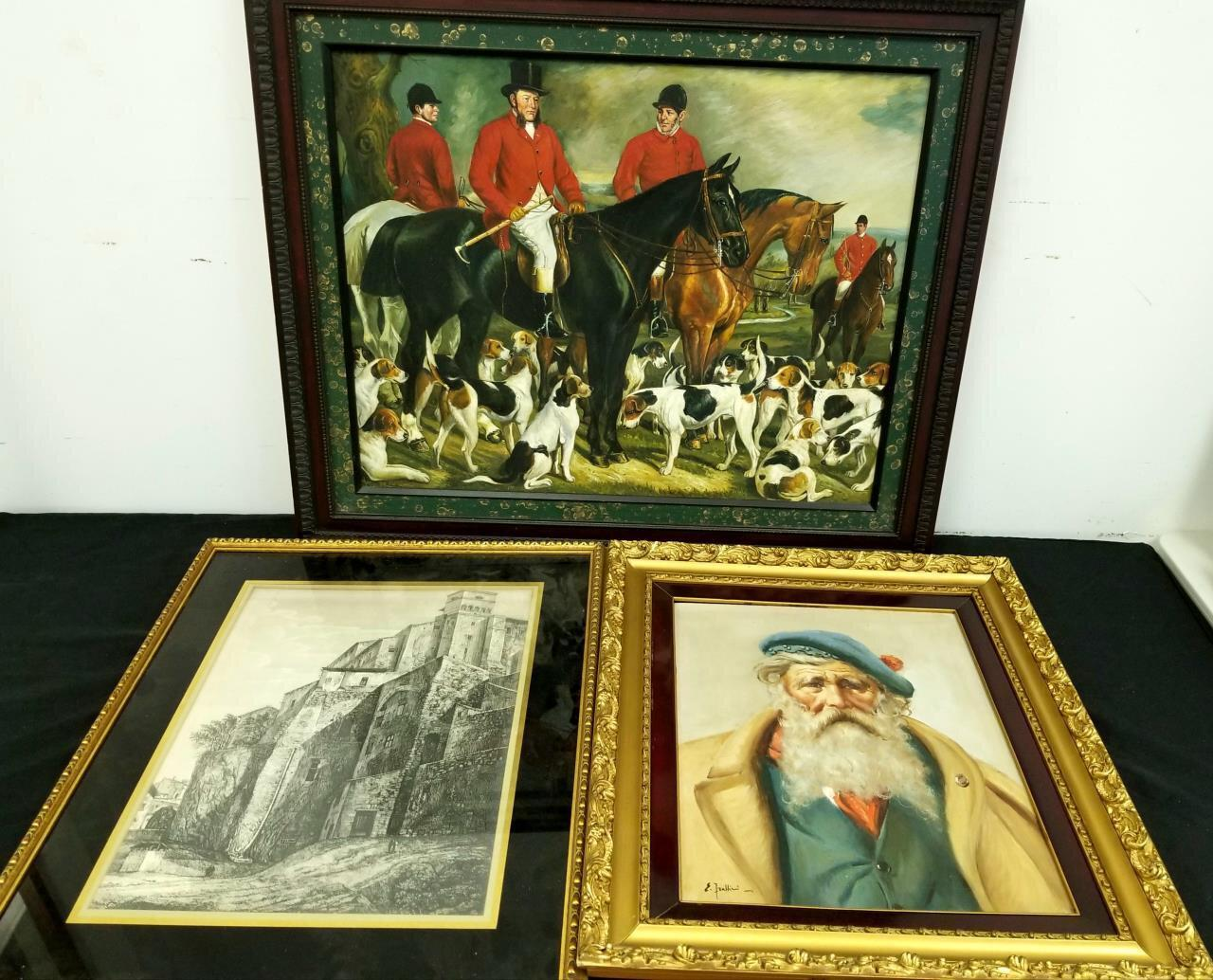 Lot of 2 Paintings Oil on Canvas & 1 Old Etching