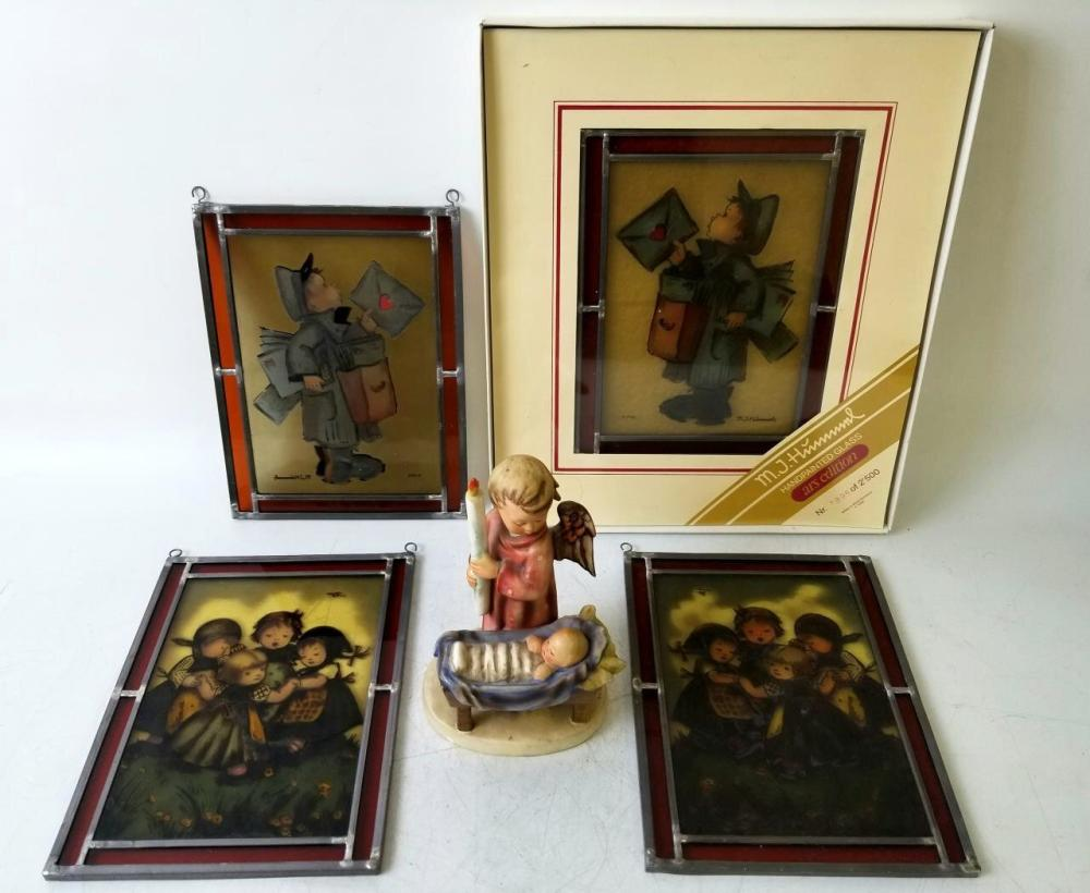 4 Hummel Painted Leaded Glass Decorations c.1986