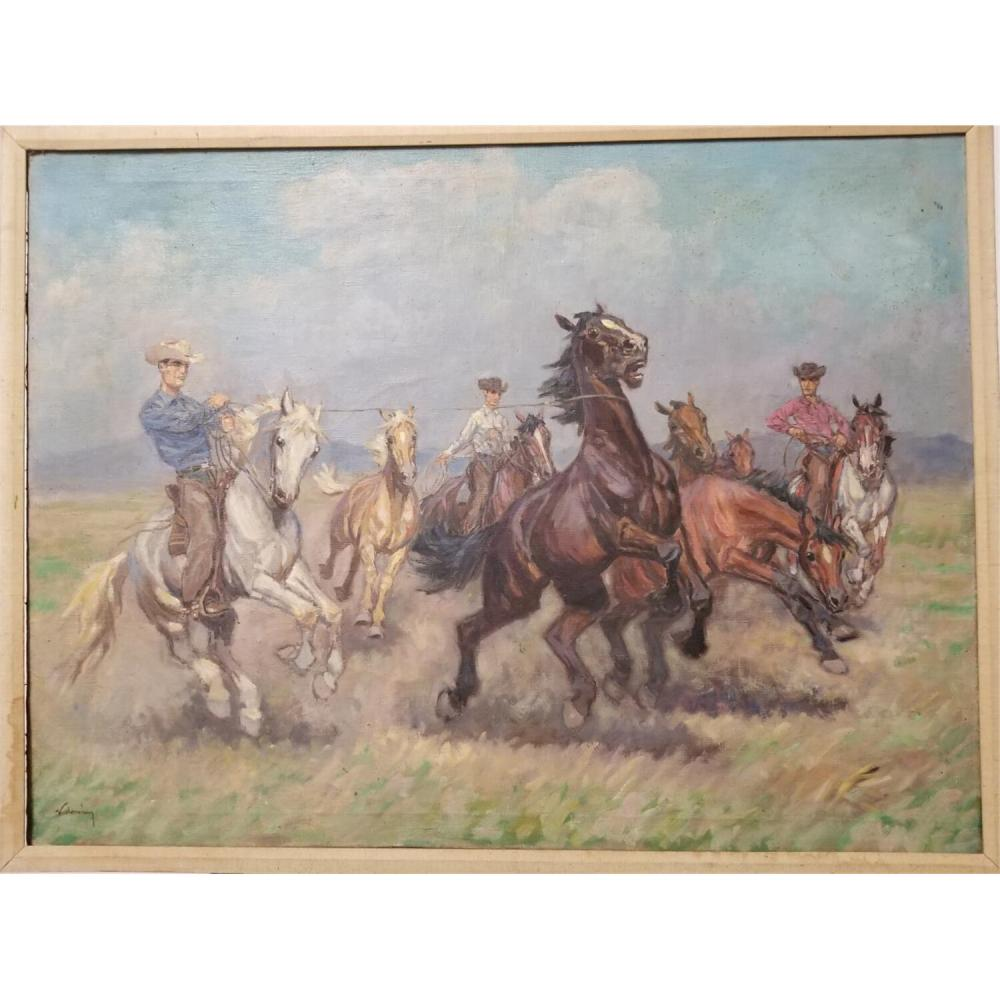 Painting Oil on Canvas Cowboys & Horses Signed