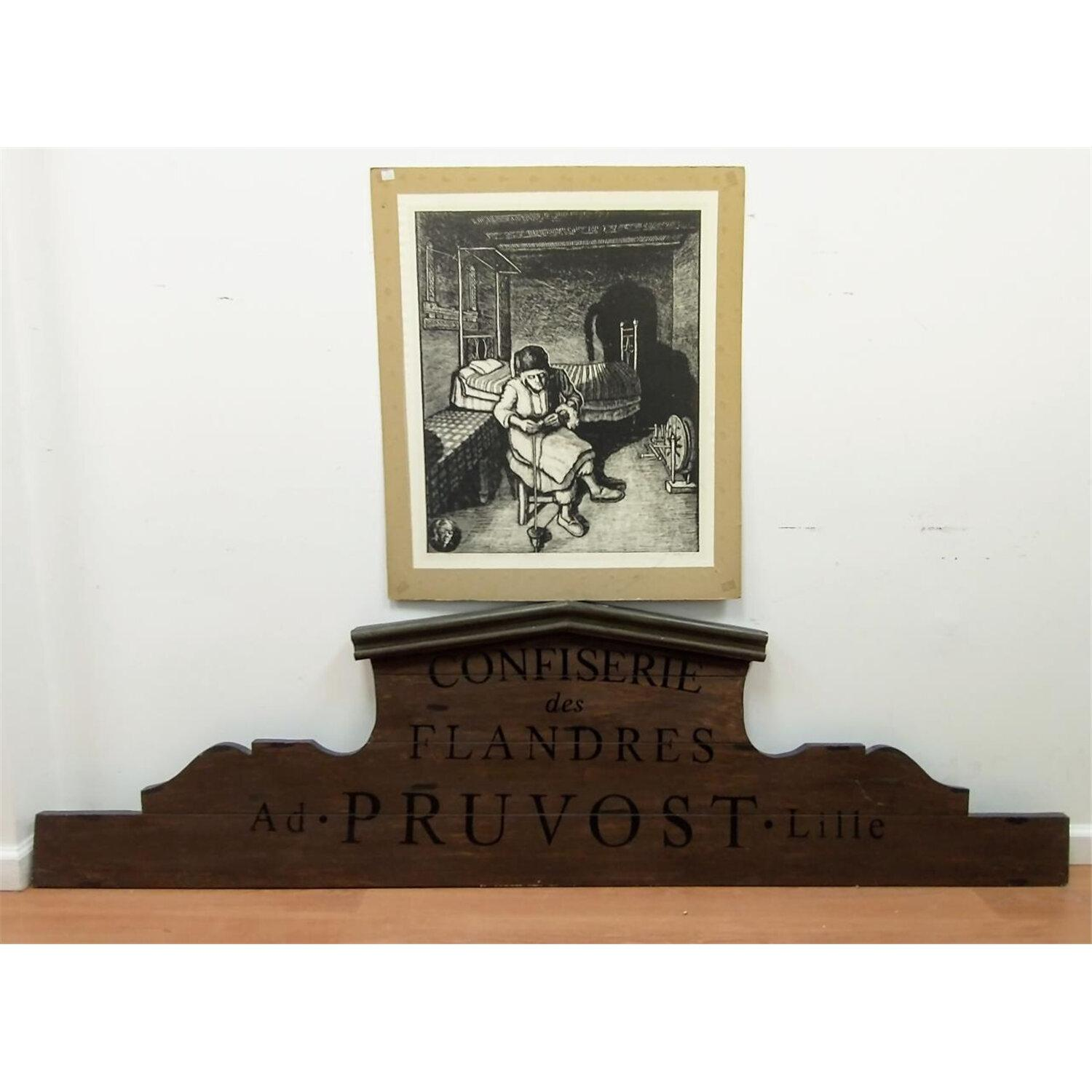 French Large Pastry Shop Sign & a Vintage Etching