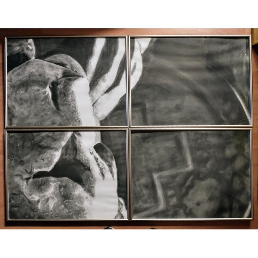 4 Panel Charcoal Paintings by David Szydlowski.