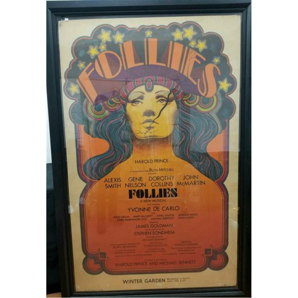 "Huge Original Broadway Poster ""Follies"" 1970's."