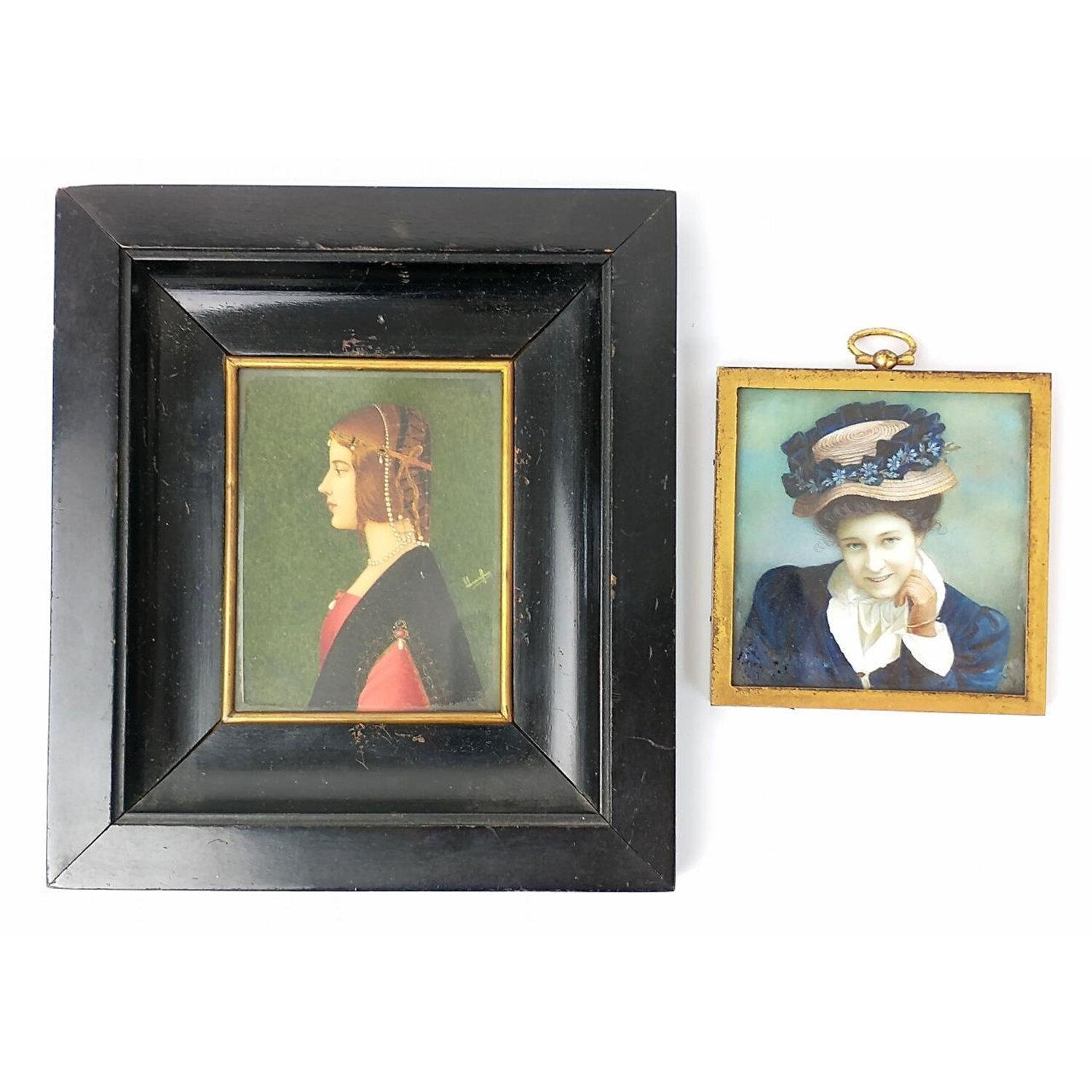 2 Antique Hand Painted, Signed Miniature Paintings