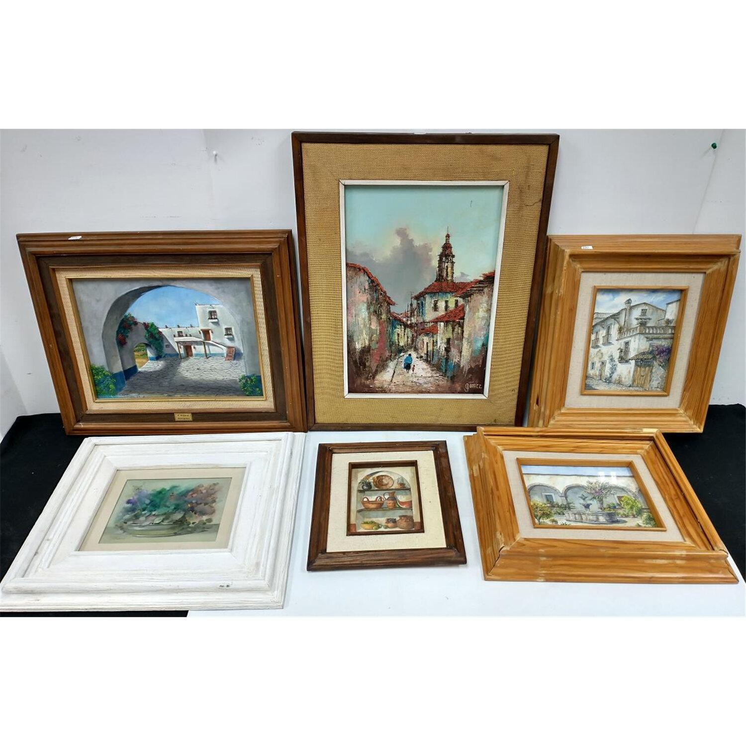 Lot of 6 Vintage Paintings All South American