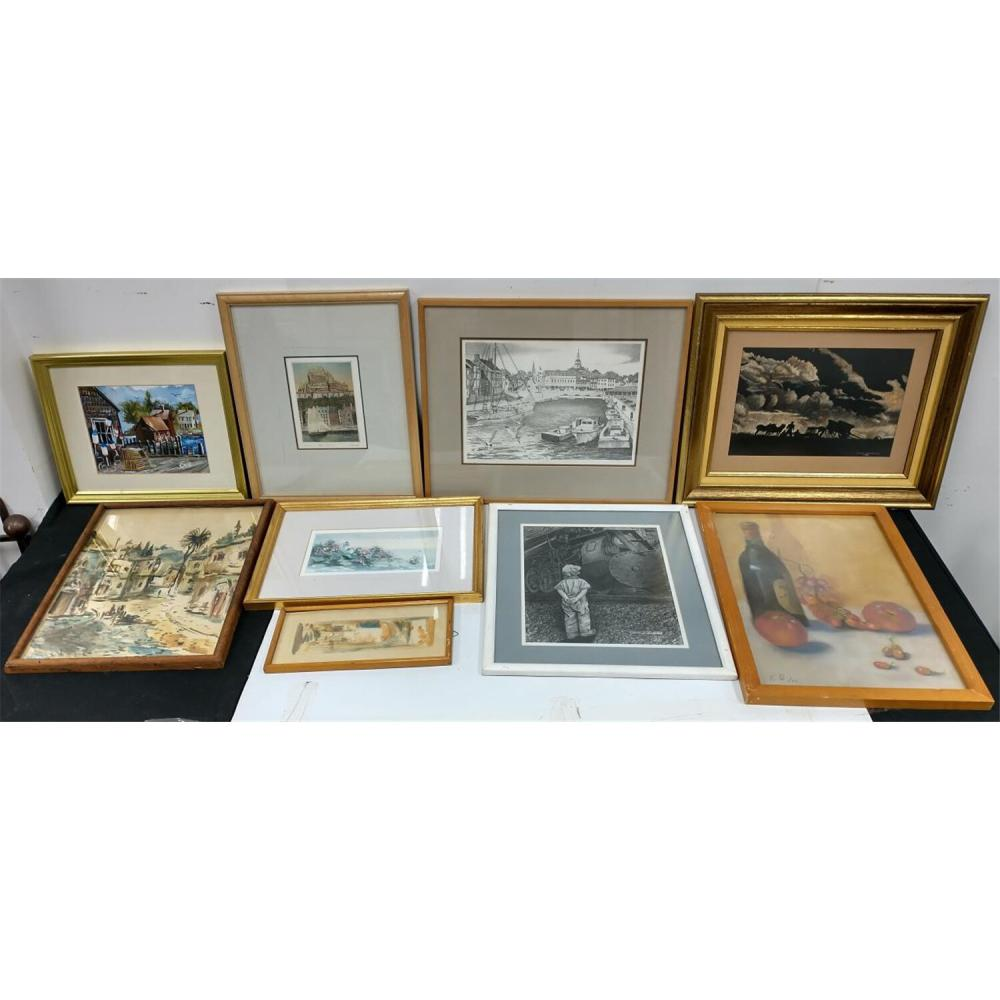 7 Paintings, Watercolors, Pastels & 2 Lithographs.