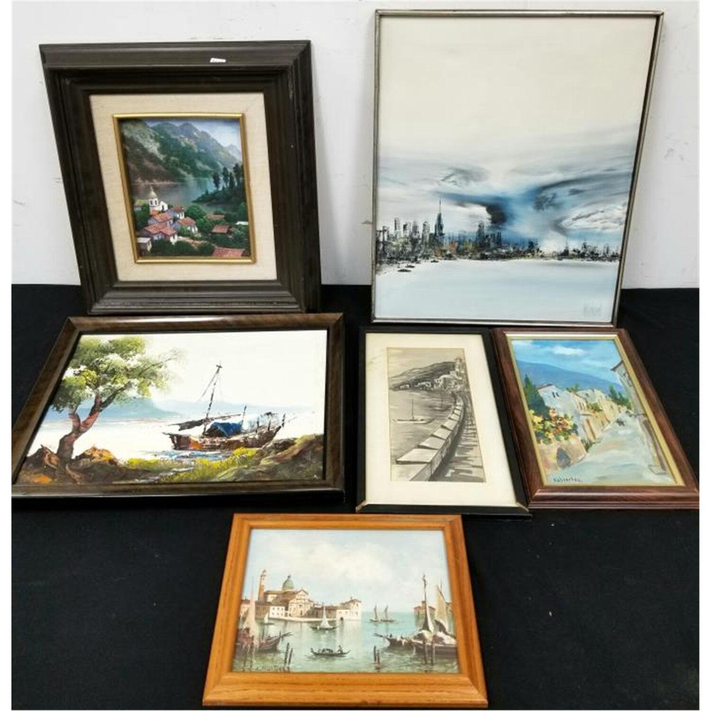 Lot of 6 Paintings, Various Mediums.