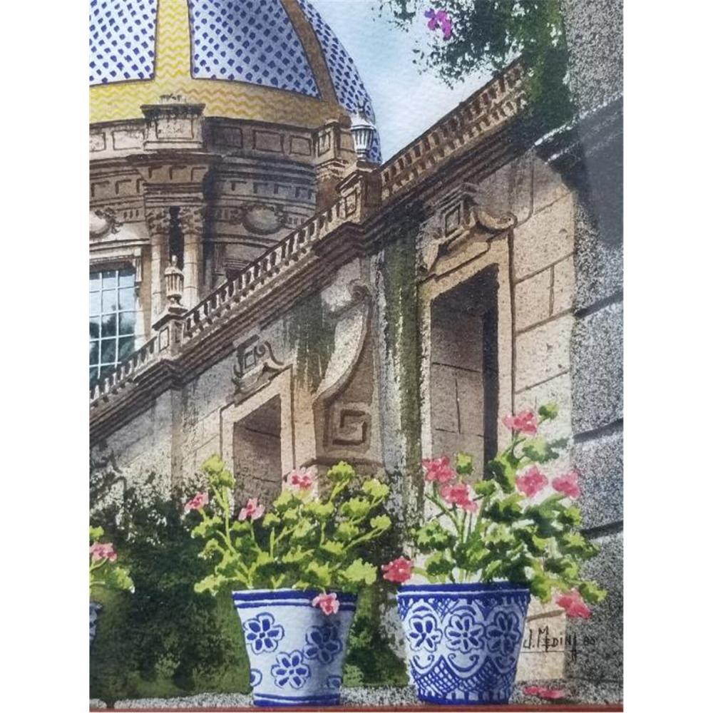 2 Paintings Watercolors by Juan Medina, Dominican.