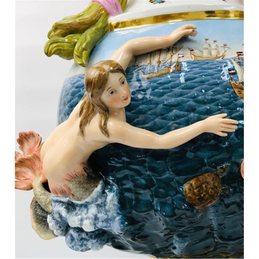 "Monumental Meissen 19thC Porcelain Ewer ""Water""."