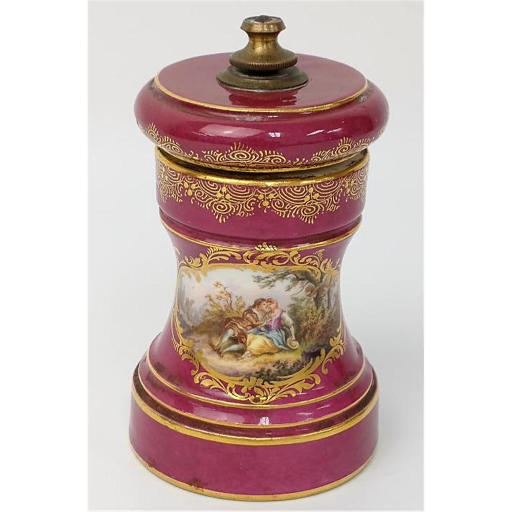 Meissen German Porcelain Pepper Mill, Wateau.