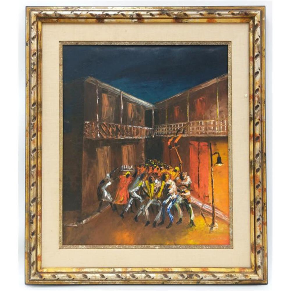 Painting Oil on Board by Charles Obas, Haitian.