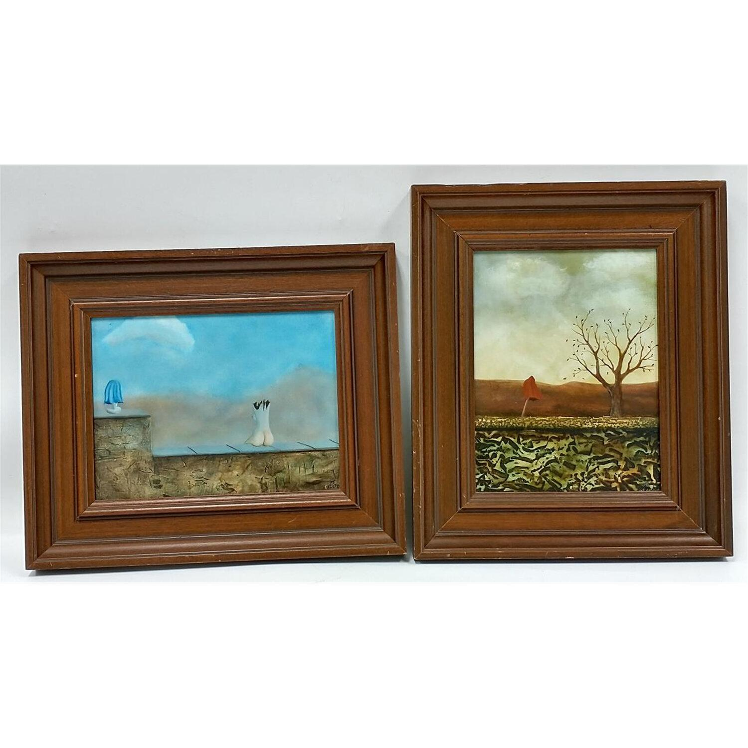 2 Paintings Oil on Board, Signed Otero.