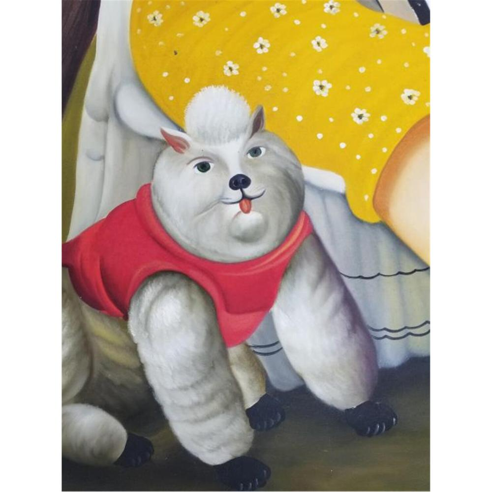 Painting Oil on Canvas Style of Botero.