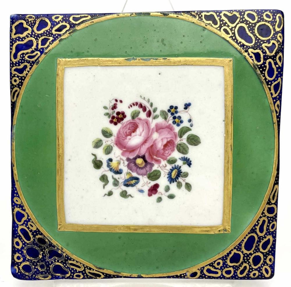 2 Antique Hand Painted & Gilded Porcelain Tiles