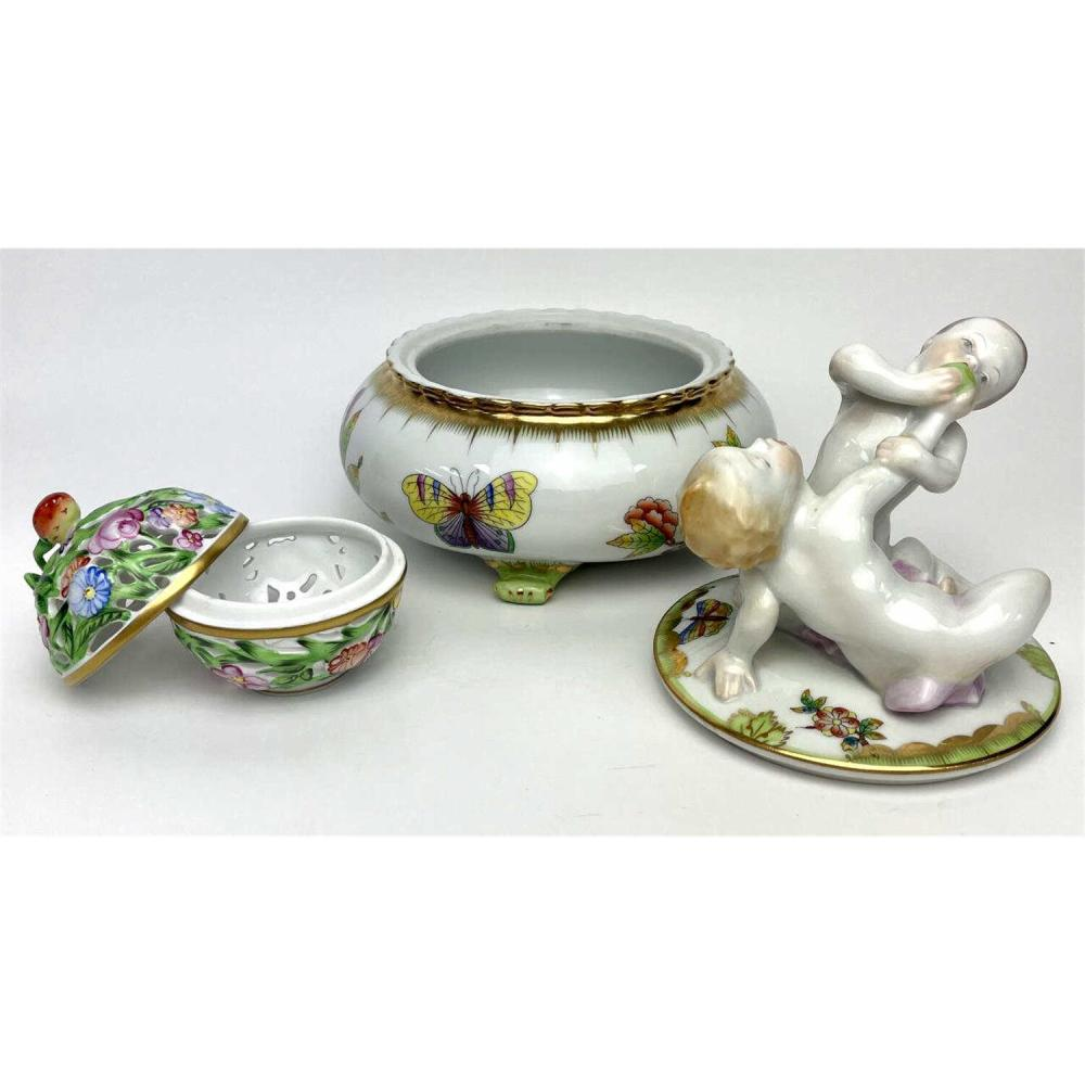 3 Herend Hungary Porcelain Items