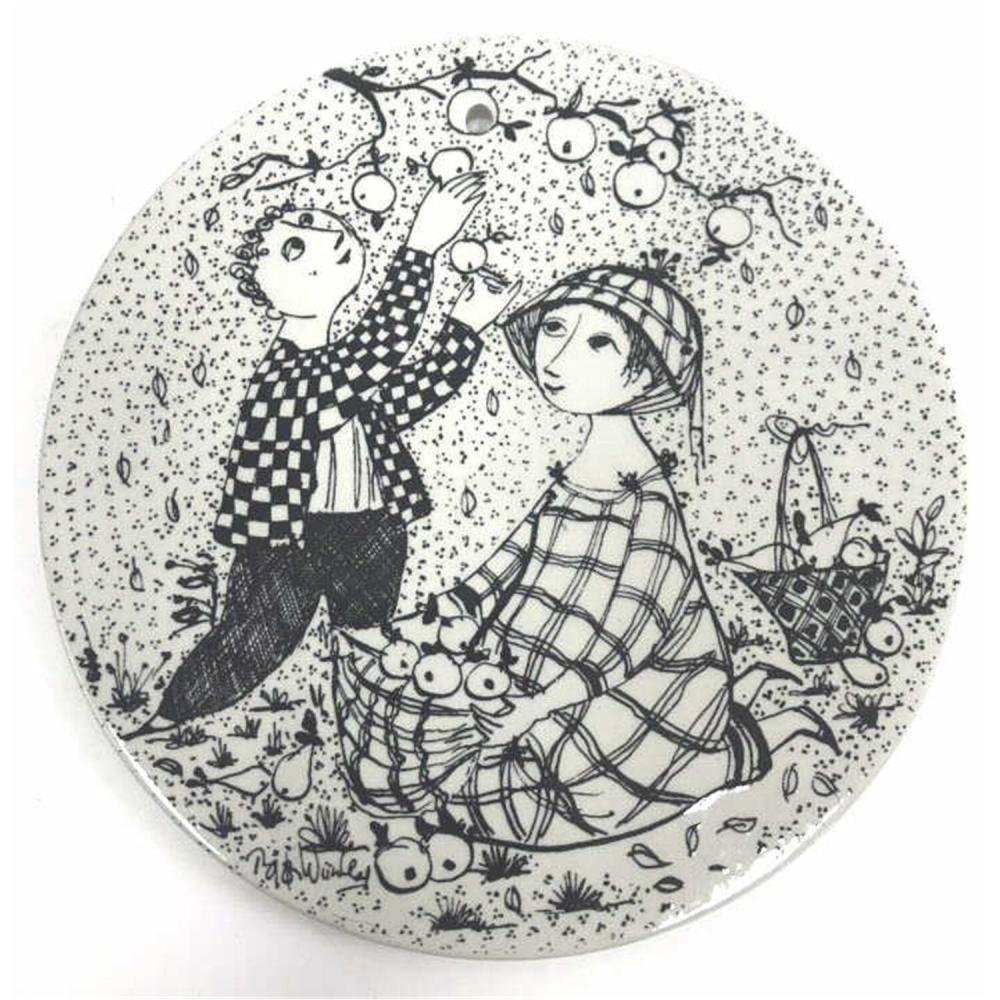 2 Mid Century Modern Danish Porcelain Plaques