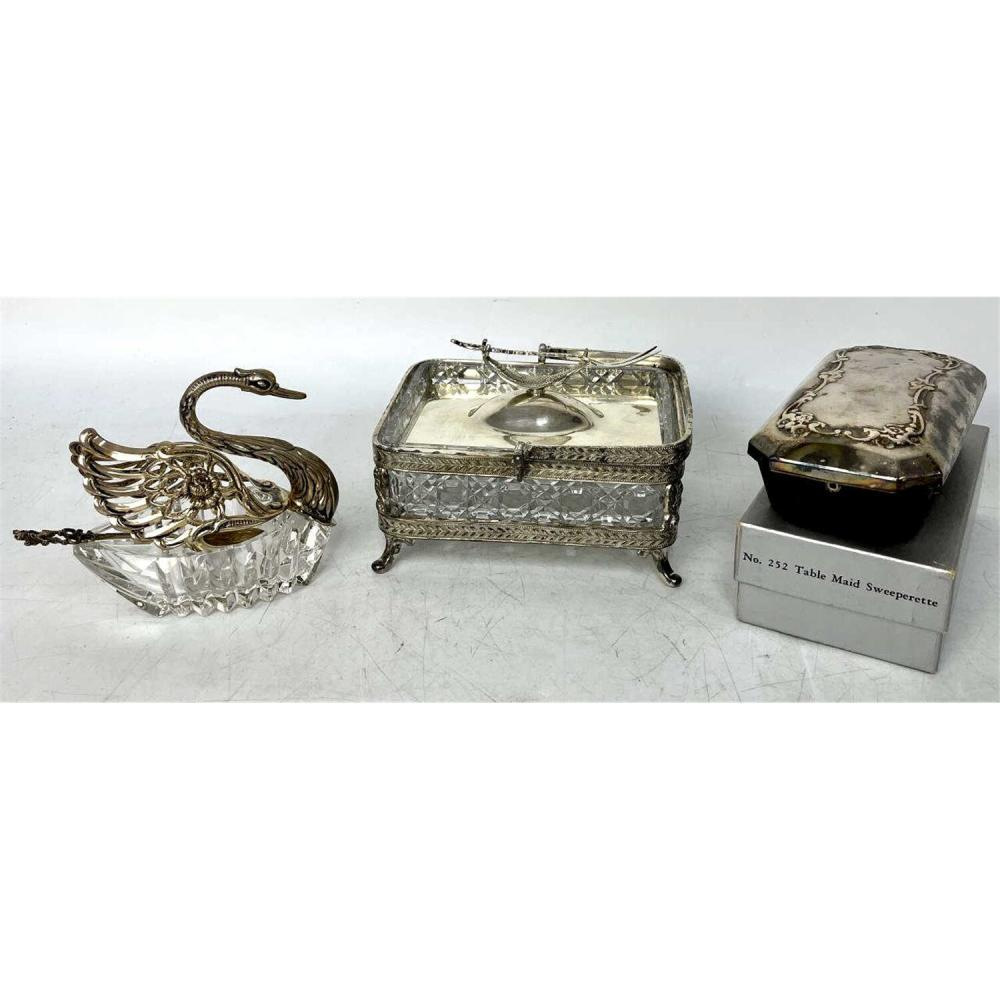 3 Glass and Silver/ Silverplate Table Items