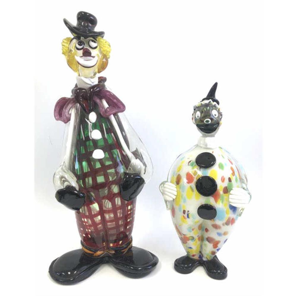 2 Italian Glass Clowns