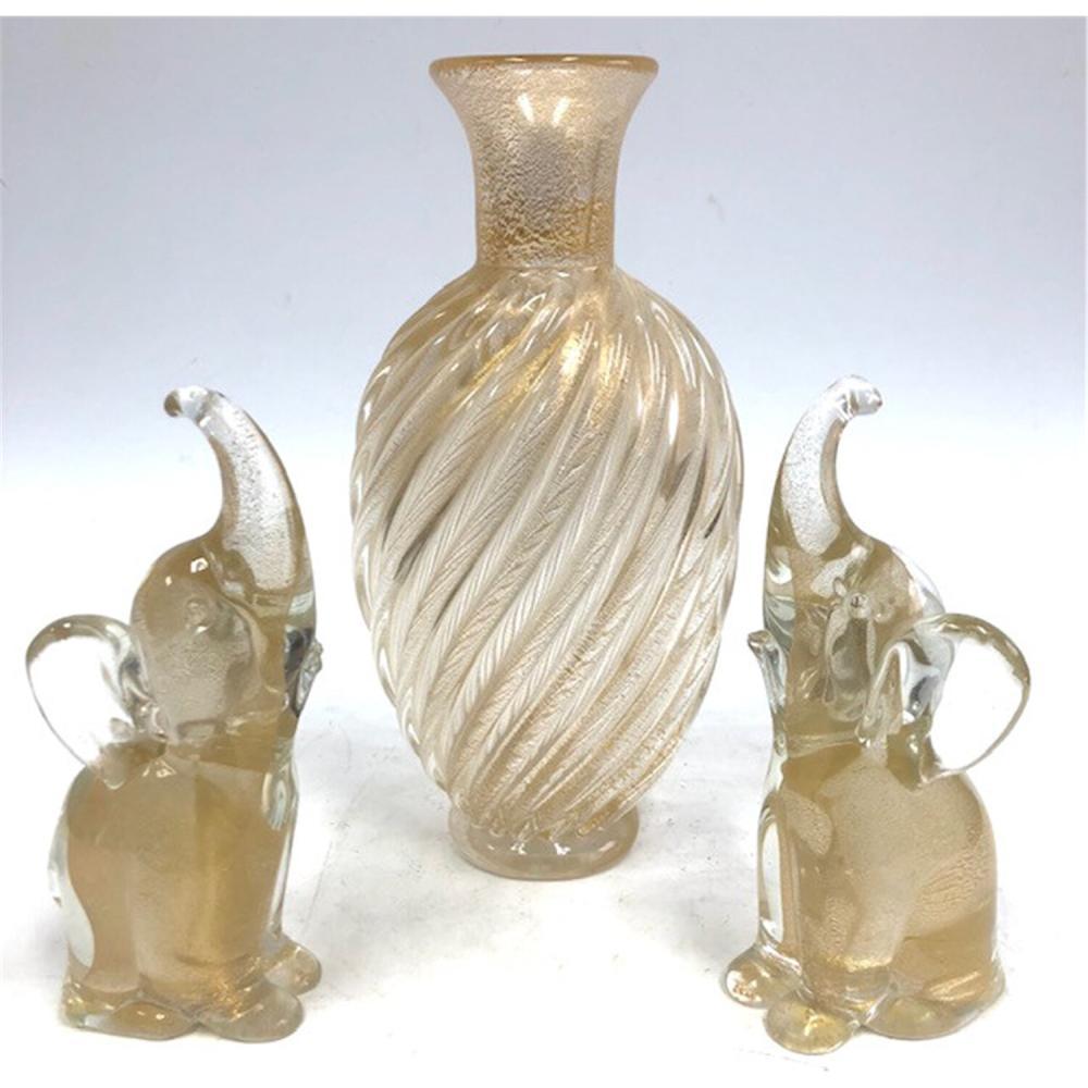 3 Venetian Italian Murano Glass Items