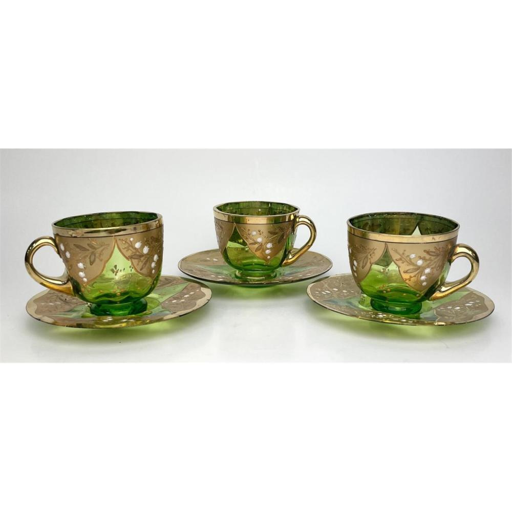 3 Antique Bohemian Glass Enameled Cups & Saucers, Moser