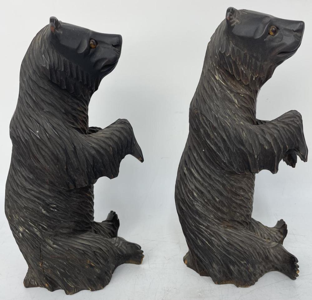 2 Vintage Carved Wood Brown Bears from Russia