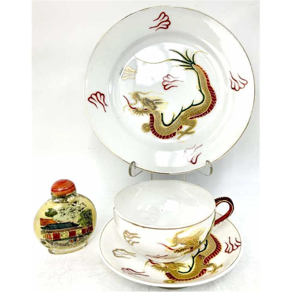 2 Asian Items- Japanese Dragonware, Chinese Snuff