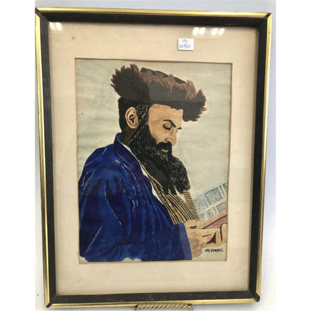 2 Judaica Signed Art; 1 Watercolor & 1 Lithograph