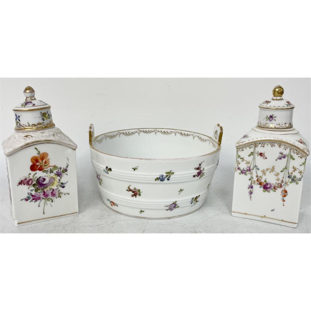 3 Pcs. Antique Dresden Germany Porcelain