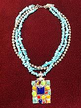 Turquoise Necklace with sterling silver pendant