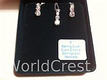Sterling Silver Cubic Zirconium Pendant with Chain and Matching Earrings-R-#9