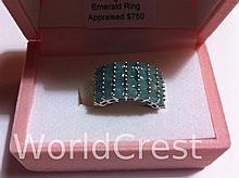 Sterling Silver Emerald Ring-R-#18