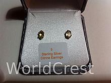 Sterling Silver Citrine Earrings-R-#5