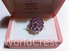 Sterling Silver Ruby Ring-R-#30