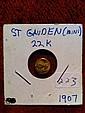 1907 22k Mini St Gauden Miniture 22k gold Saint Gauden replica