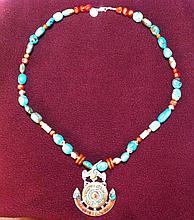 Necklace with Beautiful, Aztec Looking, Pendant
