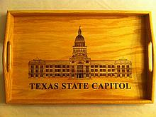 Wood Serving Tray w/Texas Capitol emblazon on tray, donor is State Comptroller Candidate Glenn Hager