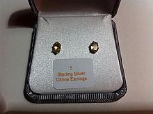 Sterling Silver Citrine Earrings-R-#5