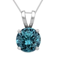 14K White Gold Jewelry 1.03 ct Blue Diamond Solitaire Necklace - REF#186X8F-WJ13323