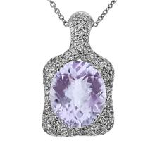 Genuine 5.08 CTW Amethyst Slider Pendant in 14K White Gold - REF-79V5A