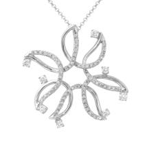 Genuine 0.9 CTW Diamond Slider Necklace in 18K White Gold - REF-155N4F