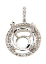 Genuine 0.24 CTW Diamond Semi Mount  Necklace in 14K White Gold - REF-45X5W