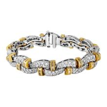Genuine 6.2 CTW Diamond Link Ring in 14K Two Tone Yellow Gold - REF-609K9T