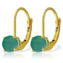 Genuine 1.20 ctw Emerald Earrings Jewelry 14KT Yellow Gold - REF-31V2W