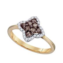 0.33 CTW Cognac-brown Colored Diamond Cluster Ring 10K Yellow Gold - REF-22H5X