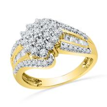 0.96 CTW Natural Diamond Cluster Ring 10K Yellow Gold - REF-68X6F