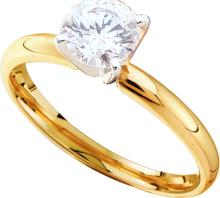 0.14 CTW Natural Diamond Solitaire Bridal Engagement Ring 14K Yellow Gold - REF-21N2Y