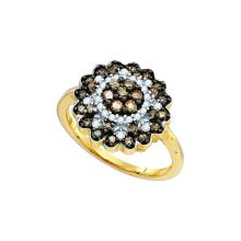 0.65 CTW Cognac-brown Colored Diamond Flower Cluster Ring 10K Yellow Gold - REF-42W2H