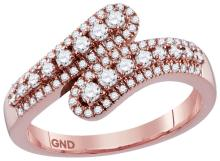 0.49 CTW Natural Diamond Bypass Band 10K Rose Gold - REF-42A2N