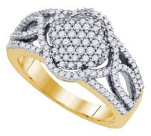 0.68 CTW Natural Diamond Quadrefoil Cluster Ring 10K Yellow Gold - REF-64M5A