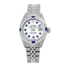 Rolex Pre-owned 26mm Womens Custom White MOP Stainless Steel
