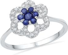 0.14 CTW Lab-Created Blue Sapphire & Diamond Cluster Ring 10K White Gold - REF-16M5A